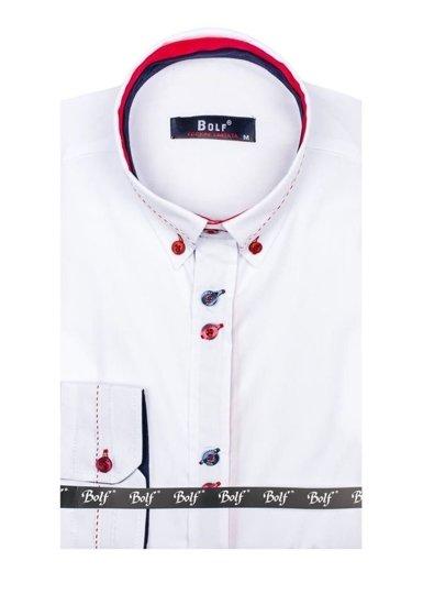 Bílá pánská elegantní košile s dlouhým rukávem Bolf 6933