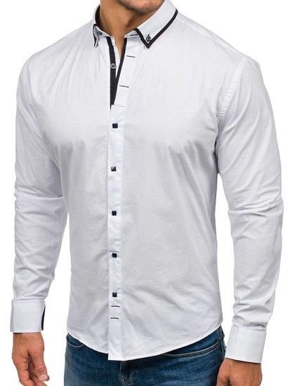 Bílá pánská elegantní košile s dlouhým rukávem Bolf 7713
