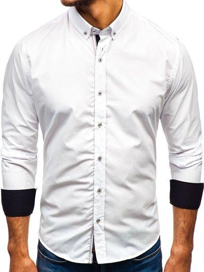 Bílá pánská elegantní košile s dlouhým rukávem Bolf 8820