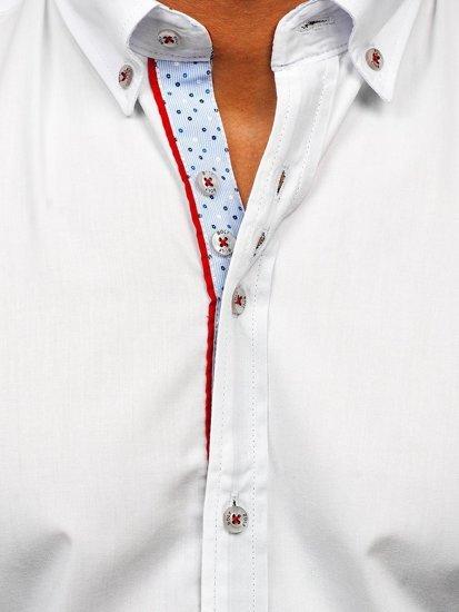 Bílá pánská elegantní košile s dlouhým rukávem Bolf 8839