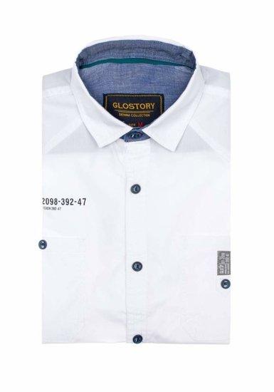 Bílá pánská elegantní košile s krátkým rukávem Bolf 1146