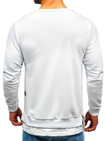 Bílá pánská mikina bez kapuce s potiskem Bolf 11115