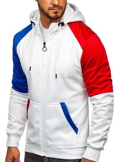 Bílá pánská mikina na zip s kapucí Bolf 88013