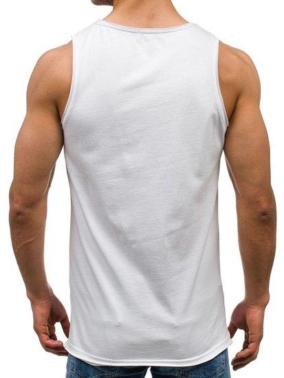 Bílé pánské tričko bez rukávů Bolf 1053