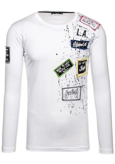 Bílé pánské tričko s dlouhým rukávem a potiskem Bolf 1088
