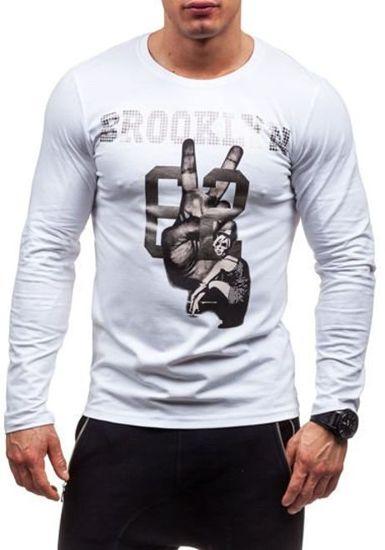 Bílé pánské tričko s dlouhým rukávem a potiskem Bolf 1934