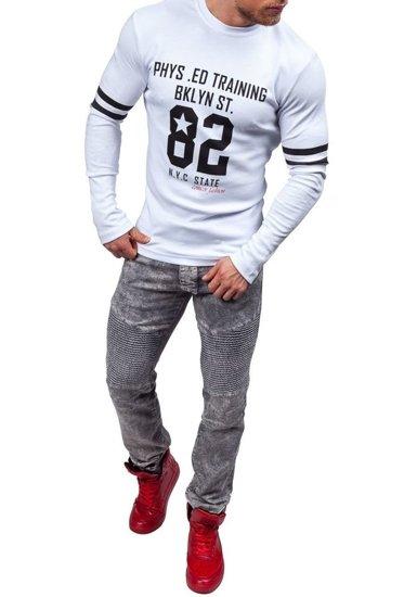 Bílé pánské tričko s dlouhým rukávem a potiskem Bolf 4245