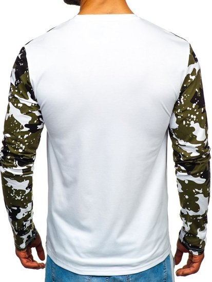Bílé pánské tričko s dlouhým rukávem a potiskem Bolf SX029