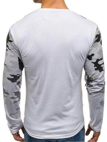 Bílé pánské tričko s dlouhým rukávem a potiskem Bolf SX057