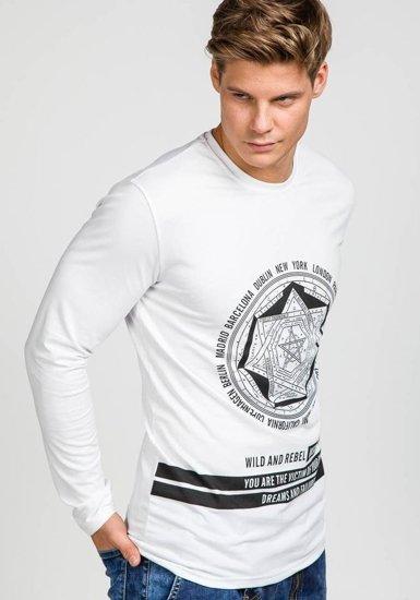 Bílé pánské tričko s dlouhým rukávem s potiskem Bolf 122