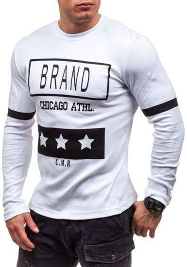 Bílé pánské tričko s dlouhým rukávem s potiskem Bolf 4634
