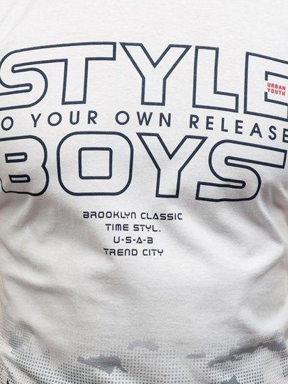 Bílé pánské tričko s potiskem Bolf 0010