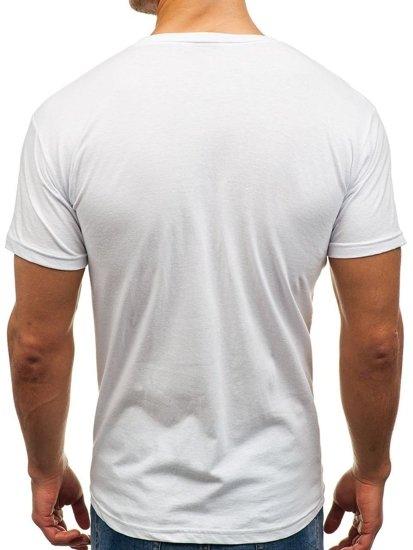 Bílé pánské tričko s potiskem Bolf 006