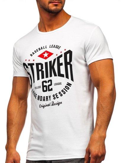 Bílé pánské tričko s potiskem Bolf 10816