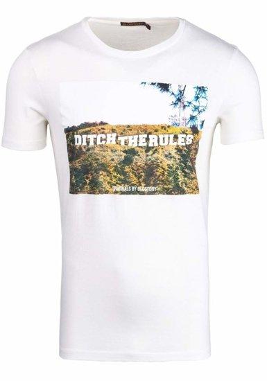 Bílé pánské tričko s potiskem Bolf 7442