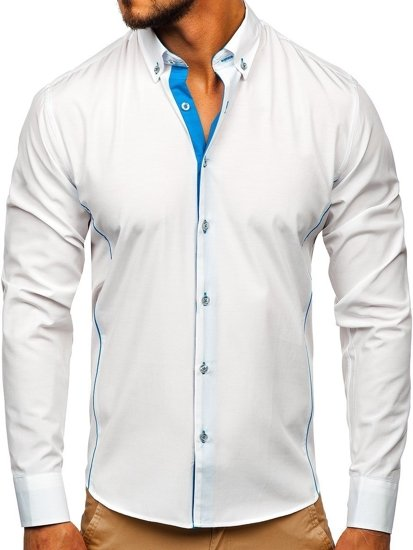 Bílo-blankytná pánská elegantní košile s dlouhým rukávem Bolf 5722-1-A
