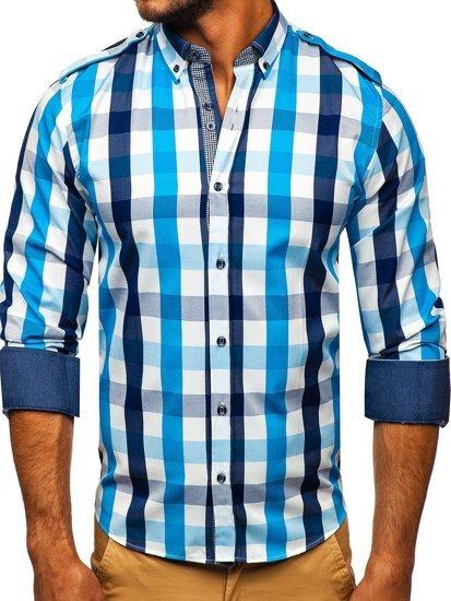 Blankytná pánská kostkovaná košile s dlouhým rukávem Bolf 2779