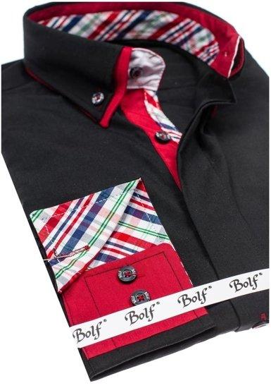 Černá pánská elegantní košile s dlouhým rukávem Bolf 6895