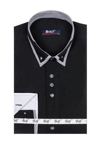 Černá pánská elegantní košile s dlouhým rukávem Bolf 6929