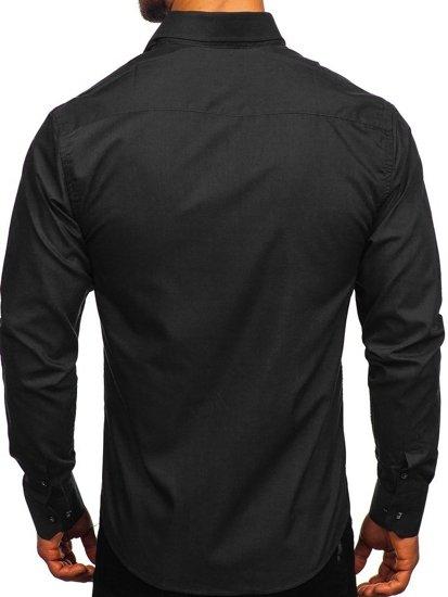 Černá pánská elegantní košile s dlouhým rukávem Bolf 6944