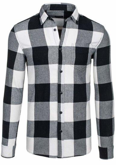 Černá pánská kostkovaná flanelová košile s dlouhým rukávem Bolf 7201