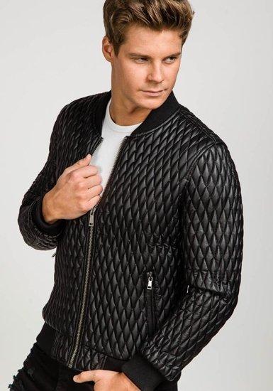 Černá pánská kožená bunda z ekokůže Bolf 7558
