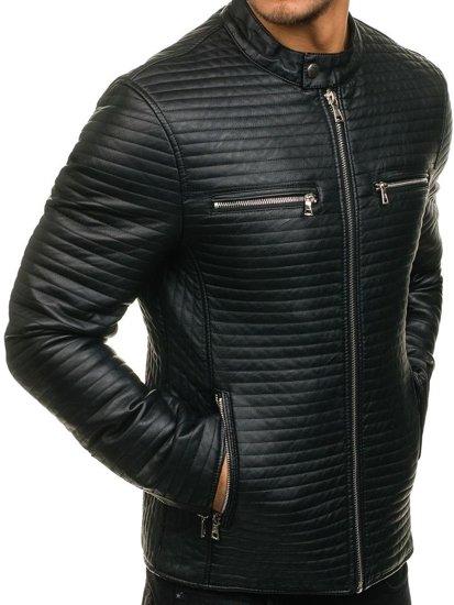 Černá pánská kožená bunda z ekokůže Bolf 9123