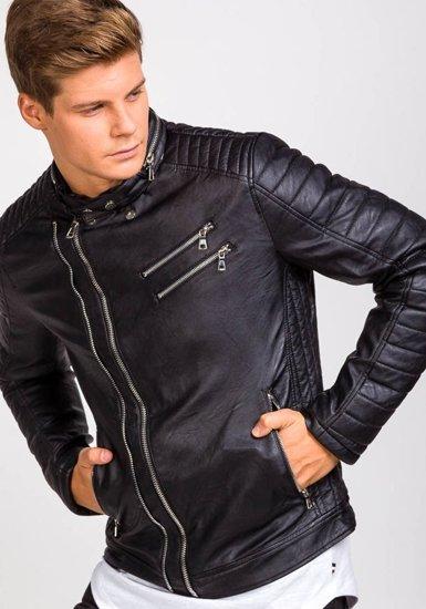 Černá pánská koženková bunda Bolf 9135