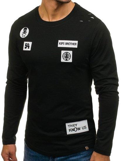 Černá pánská mikina bez kapuce s potiskem Bolf 0745