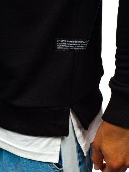 Černá pánská mikina bez kapuce s potiskem Bolf 11115
