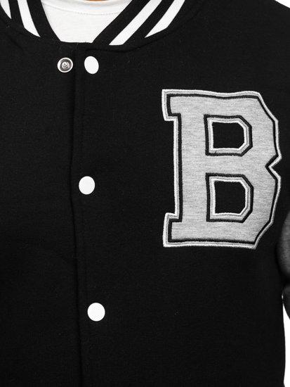 Černá pánská mikina na zip bez kapuce s potiskem baseball Bolf 10