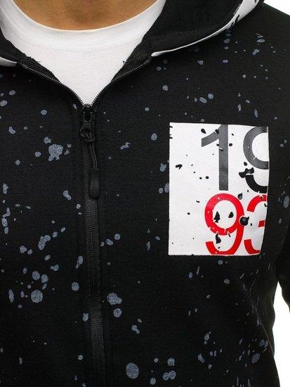 Černá pánská mikina na zip s kapucí Bolf DD128