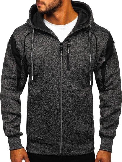 Černá pánská mikina na zip s kapucí Bolf TC986