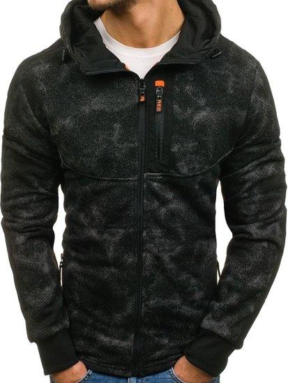 Černá pánská mikina na zip s kapucí Bolf W1571