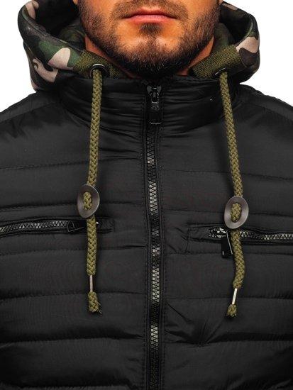 Černá pánská prošívaná sportovní zimní bunda Bolf 50A465