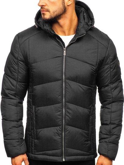 Černá pánská prošívaná sportovní zimní bunda Bolf AB102