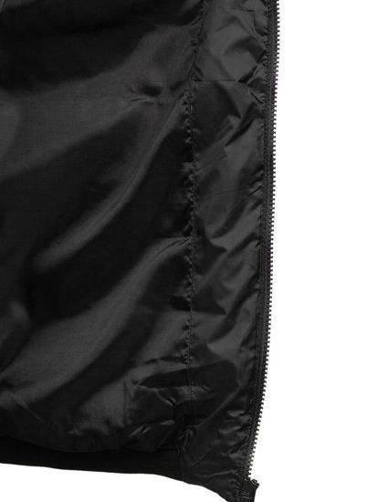 Černá pánská prošívaná vesta s kapucí Bolf 1261