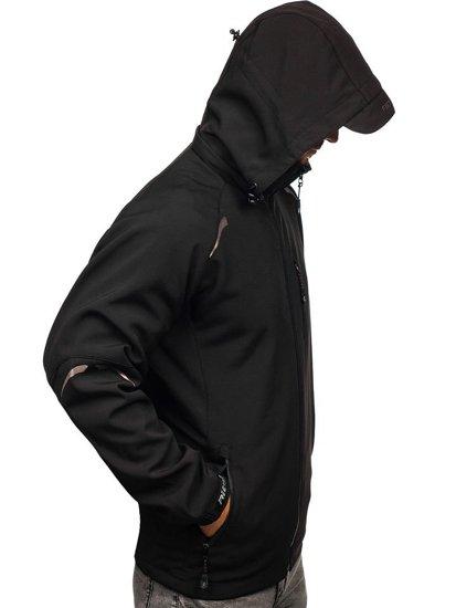 Černá pánská softshellová přechodová bunda Bolf P821