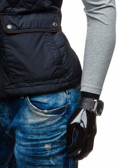 Černá pánská vesta s kapucí Bolf K155