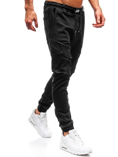 Černé pánské džínové jogger kalhoty Bolf 2048