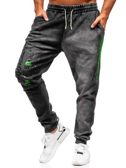 Černé pánské džínové jogger kalhoty Bolf KK1067