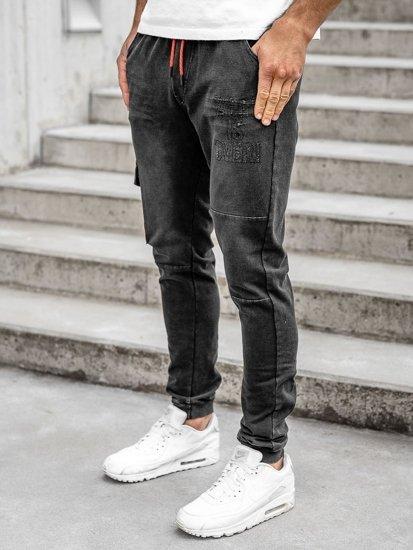 Černé pánské džínové jogger kalhoty Bolf KK1110