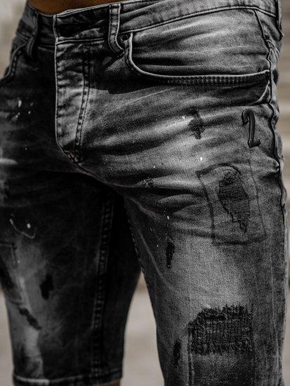 Černé pánské džínové kraťasy Bolf 3013