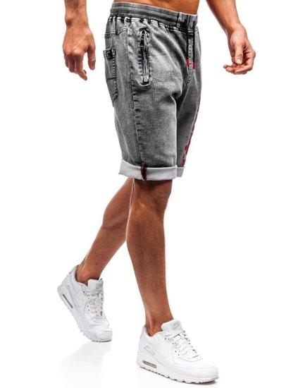 Černé pánské džínové kraťasy Bolf HY323