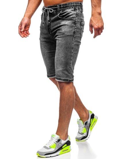Černé pánské džínové kraťasy Bolf KR1257
