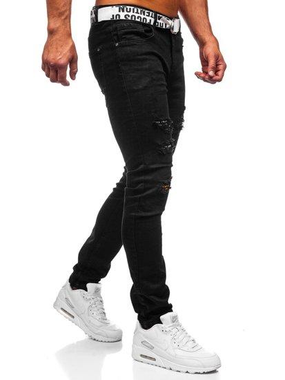 Černé pánské džíny slim fit s páskem Bolf 60014WO