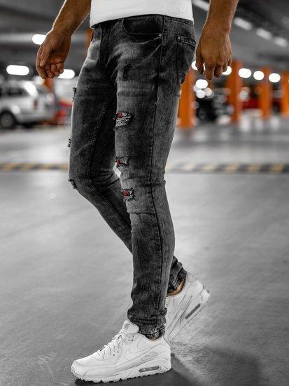 Černé pánské džíny slim fit s páskem Bolf 6030S0