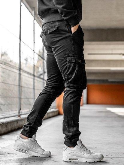 Černé pánské jogger kapsáče s opaskem Bolf 2752