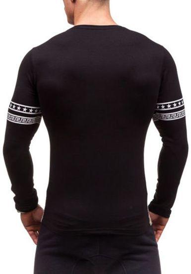 Černé pánské tričko s dlouhým rukávem Bolf 2228