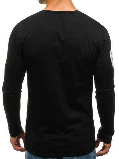 Černé pánské tričko s dlouhým rukávem a potiskem Bolf 1088